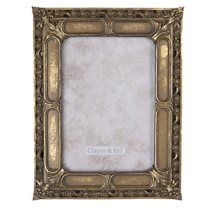 """Vintage Style Antique Gold Photo Picture Frame Floral Edge 7""""x 5"""" Distressed"""