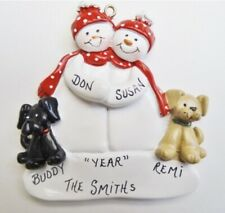 Personalized Snowman Couple w/ 2 Dogs Christmas Ornament