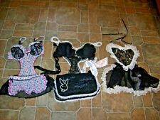 Vtg Lot Of 3 Bra Top Colorful Lacy Aprons Lingerie Playboy Midnight Hour M-L
