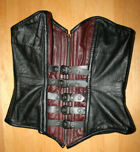 Echt Leder Korsett rot schwarz mit Schnallen Vollbrustkorsett Lammnappa