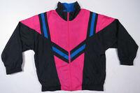Vintage 80s 90s Color Block Black Pink Full Zip Windbreaker Bomber Jacket M