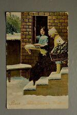R&L Postcard: New Year Wishes, 1915 Winter Snow Scene, Children