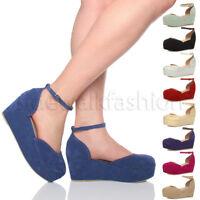 Womens ladies flatform mid wedge ankle strap platform court shoes sandals size