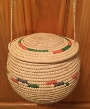 Beautiful, Delicately & Firmly Hand Woven Multi Color Haning Baket with Lid,SZ-S