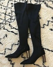 Zara Black High Heel Fabric Over The Knee Boots UK4 EU37 US 6.5 # 599
