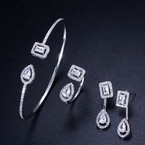CWWZircons 3Pcs Adjustable CZ Rose Gold Women Bangle Earrings Rings Jewelry Sets