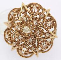 Antike Brosche in 14kt 585 Gelb Gold mit Diamanten Anstecknadel Diamantbrosche