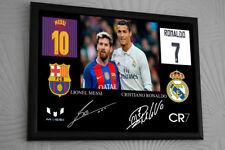 Ronaldo Messi Signed Tribute Framed Great Gift