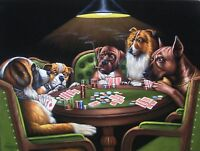 Dogs Playing Poker cards pool Smoking Art Coolidge Mexican Velvet Oil Paint J44h