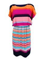 Sangria Women's Striped Tie-Waist Blouson Dress