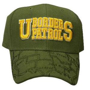 US BORDER PATROL MAP BILL GREEN ACRYLIC CAP HAT USA NEW
