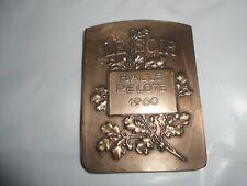 Médaille en Bronze Art Nouveau Le Soir Balle Pelote 1960 Signé Theunis