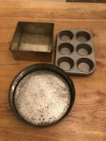 Vintage Cake Tins X 3 Round & Square Baking Tins Pie Tarts Kitchenalia