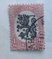 Suomi Finland Stamp Standing Lion 1MK 1917 Issue