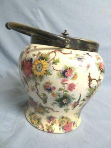 Vintage ENGLAND RARE BIRD Chintz BIRD Floral Biscuit COOKIE JAR BARREL FORD SONS