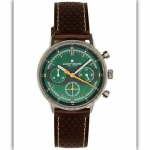 LUCKY BRAND Fairfax Chronograph perforated leather strap 40mm Men's watch BROWN