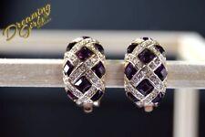 Luxury Rose Gold Plated Amethyst Austrian Crystal Plaid Clip-on Earrings w Box