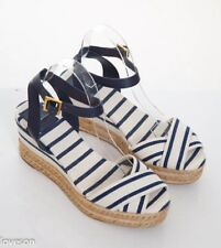 TORY BURCH Ivory/Navy Striped Canvas Ankle-Strap Platform Wedge Sandals 10 B