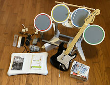 Nintendo Wii Console Beatles Rock Band Drums Fender Guitar Games Controller