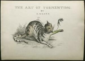 COLORED ETCHING British 1830s ~ ART OF TORMENTING ~ Henry Heath CAT & MOUSE