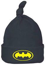 Chapeau bébé garçon fille noir jaune Batman top knot Beanie Chapeau Crâne Cap One Size 6-9