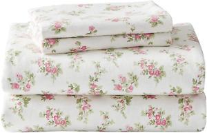 Laura Ashley Flannel Sheet Set, Audrey Pink, Queen 201592