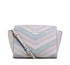 NWT $268 Michael Kors Selma Medium Leather Crossbody Bag Dove Grey Chevron $268