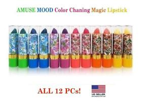12 PCs Amuse Mood Color Changing Magic Lipstick with Aloe Vera *US SELLER*