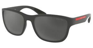 PRADA SPORT Sunglasses Shades Frames GREY RUBBER PS01US UFK5L0 Grey Mirror Black
