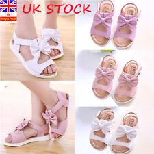 Kids Girls Summer Beach Bowknot Flat Princess Sandals Toddler Open Toe Shoes