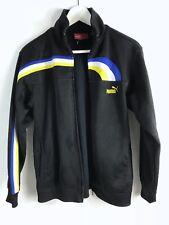 Boy's Youth Vintage PUMA Track Jacket XL Logo Zip Up Black Blue Yellow White