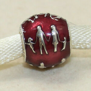 New Authentic Pandora Charm Family Bonds Red Enamel 791399EN62 W Suede Pouch
