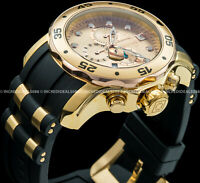 Invicta Men Pro Diver Scuba Chronograph 18Kt Gold & Rose Gold Black Strap Watch
