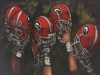 "Georgia Bulldogs Football ""Georgia Pride"" Helmets 17x11in UGA artwork"