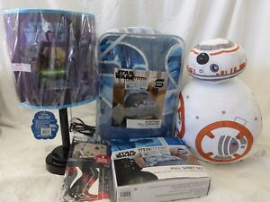 7 pc Disney Star Wars Full Comforter, Shams, Sheet, Deco Pillow, Lamp Set NIP