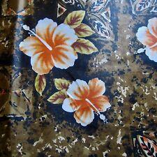 50cm x 90cm brown tiki hibiscus floral vintage polished cotton fabric 1960s