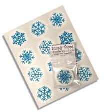 12 Snowflake Blue Christmas Edible Cupcake Toppers Decorations Cake Xmas Cut