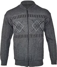 Mens Classic Zip Up  Cardigan Argyle Diamond Grandad S-4XL