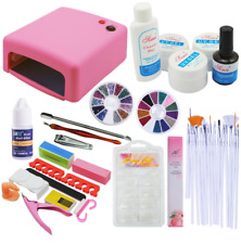 Nail Art Manicure Set Pro 36W UV lamp 8PC Base Top Gel Polish Pads Kit Tools