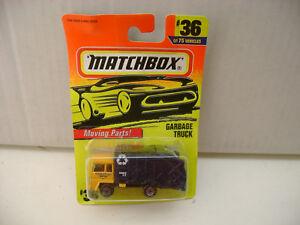 1996 Matchbox Superfast #36 Camión Basura Naranja Taxi Nuevo En Dañado Tarjeta