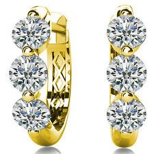 2.10 ct Round cut Diamond Hoop 14k Yellow Gold Earrings, 0.35 ct each F-G VS/SI1