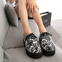 Fashion Womens Ladies Flat Platform Wedge Lace Up Punk Goth Creepers Shoes Boots