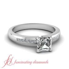 Asscher Cut Natural Diamond Engagement Ring Channel Set GIA Certified 0.65 Ct