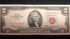 1953  Star Notes $2 Two Dollar Bill Banknote Currency Red Seal  RARE
