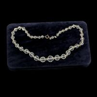 Antique Vintage Deco Sterling Silver Plated Faceted Crystal Glass Bead Necklace