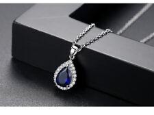 Collier chaîne pendentif goutte d'eau Swarovski® Element top qualité bleu saphir