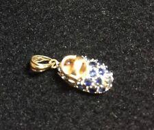 14K Yellow Gold Samuel Benham BJC 3D Sapphire Cluster Baby Bootie Shoe Pendant