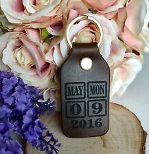 Personalised Leather Brown Genuine Calendar Date keyring - Wedding Anniversary