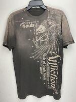 Affliction Short Sleeve T-Shirt Mens Brown Size M