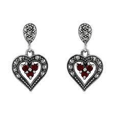 925 Sterling Silver Garnet & Marcasite Heart Earrings